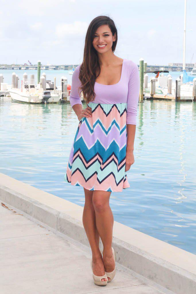 Lilac Chevron Dress with 3/4 Sleeves