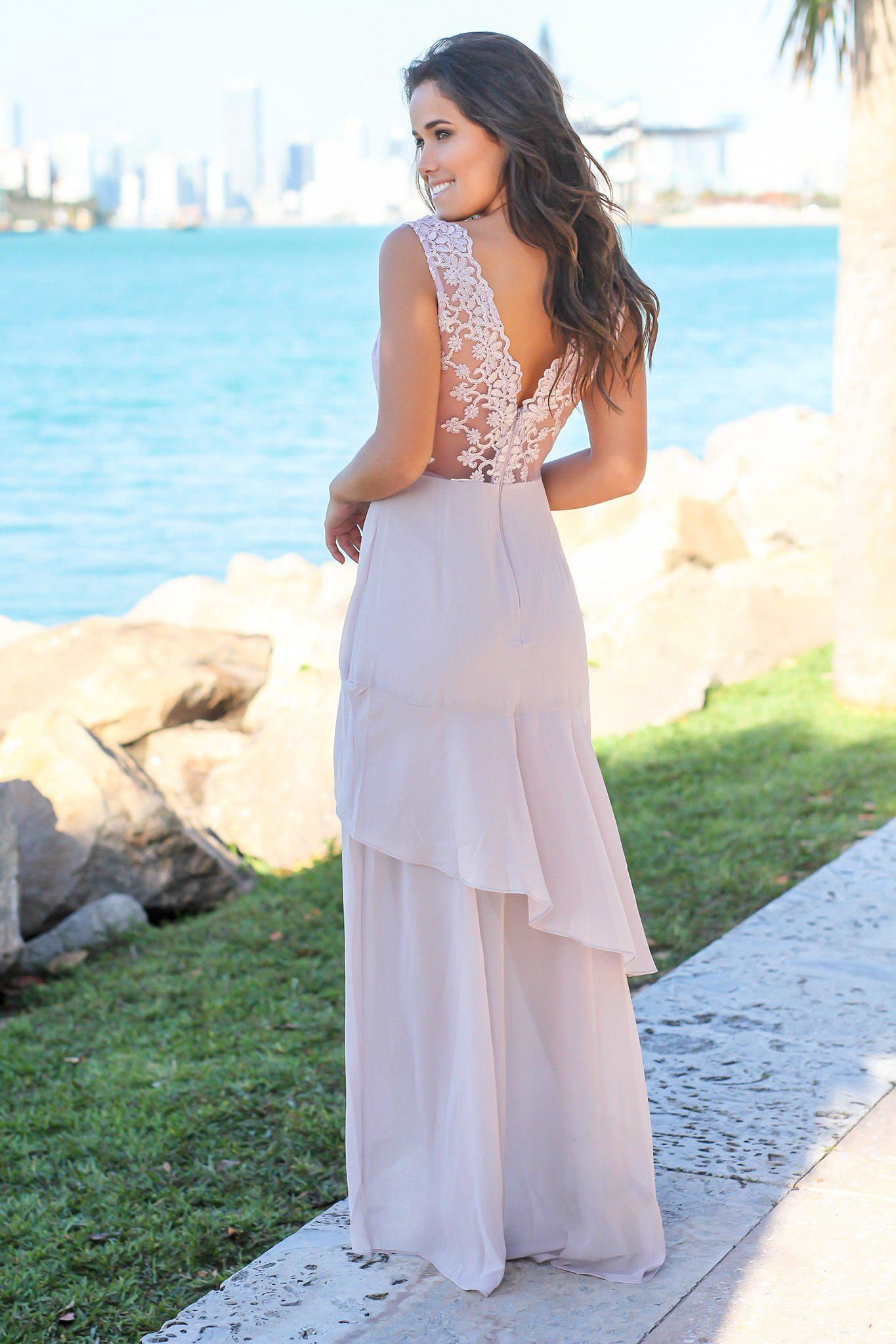 Lilac Gray Maxi Dress with Embroidered Top