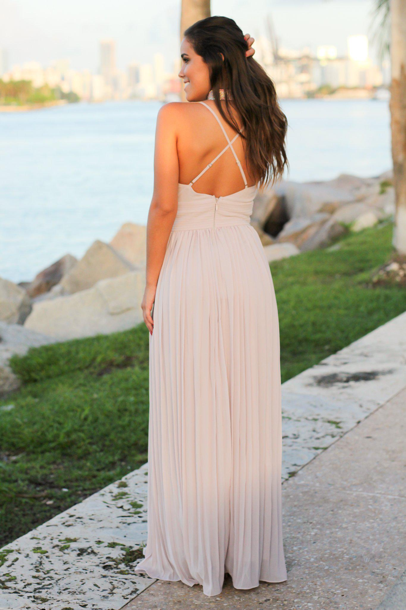 Lilac Gray Pleated Maxi Dress with Criss Cross Back