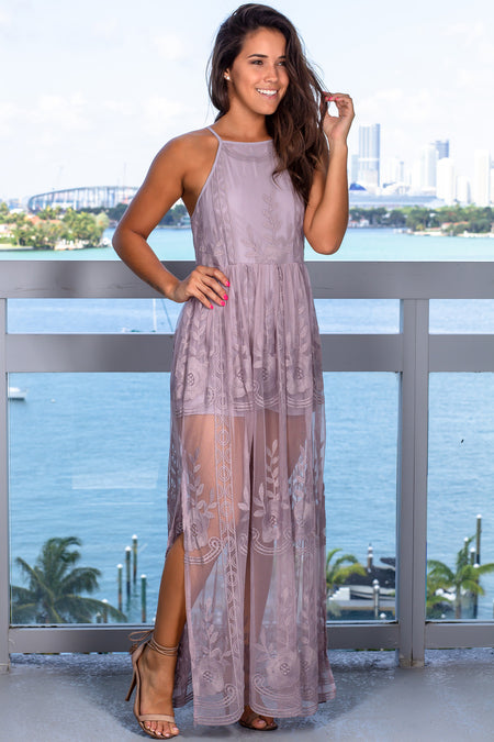 Lilac Lace Maxi Romper with Slits