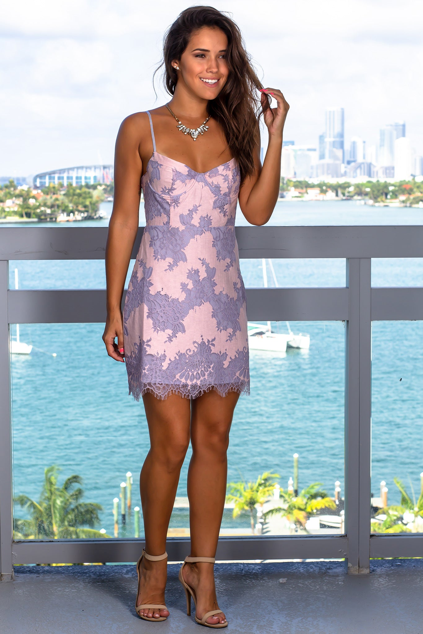 Lilac Lace Short Dress