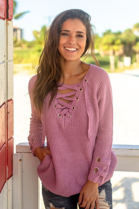 Lilac Lace Up Knit Sweater