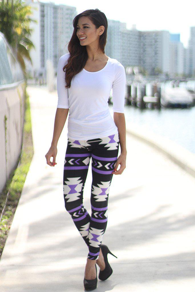 Lilac And Black Tribal Print Leggings