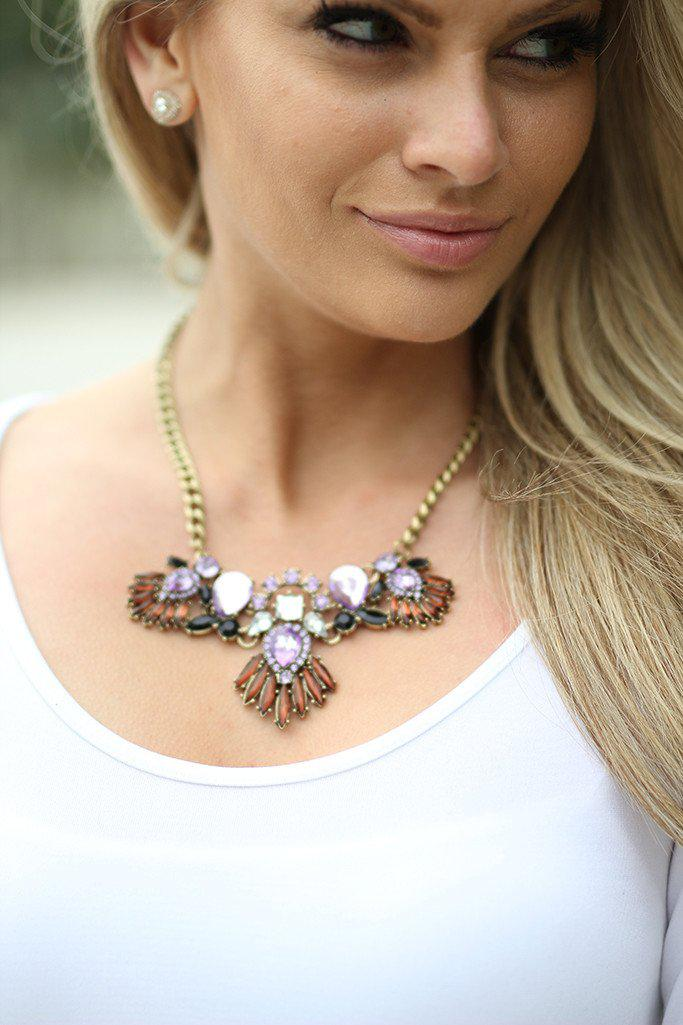 Lilac Jeweled Wing Necklace
