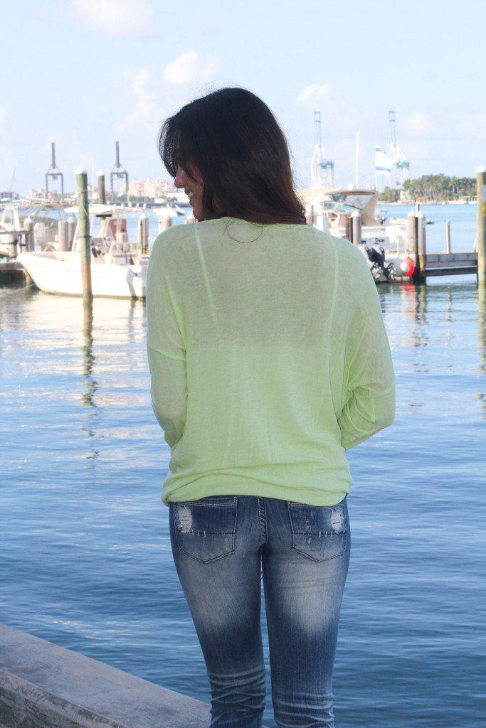 Lime High Low Top With Knotted Front