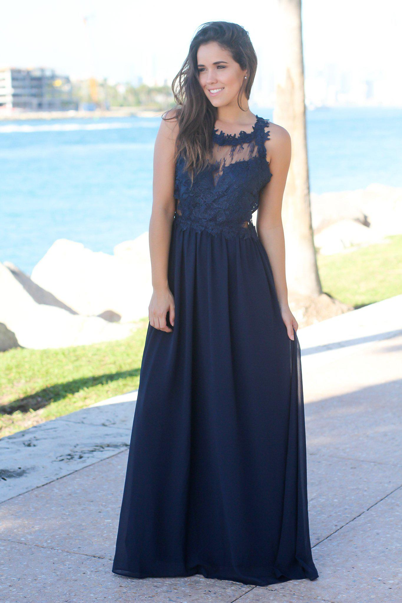09221de5c676 Navy Maxi Dress with Lace Top | Maxi Dresses – Saved by the Dress