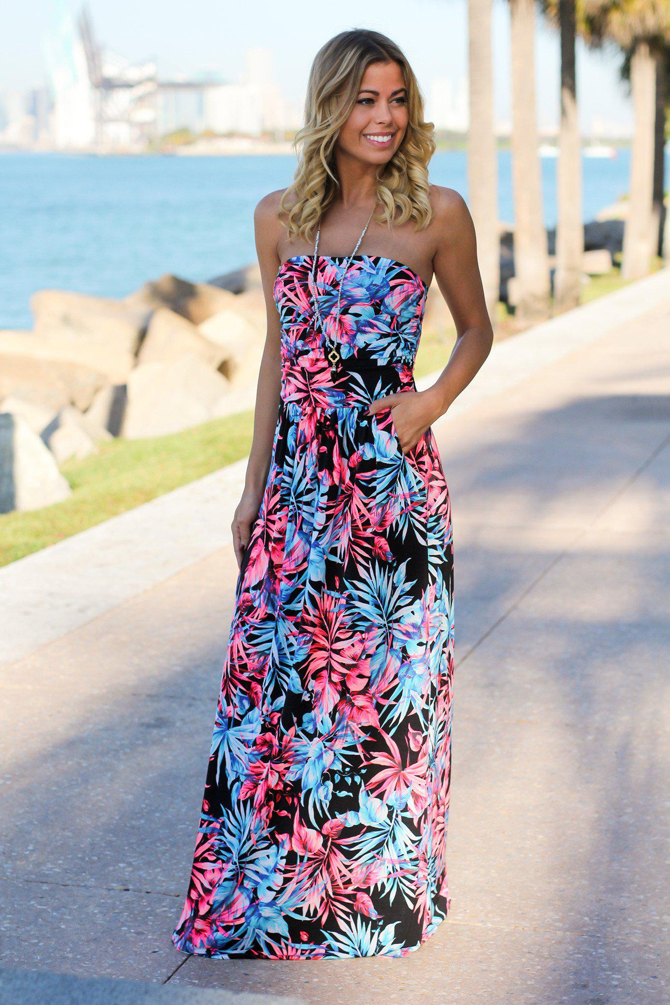 100 tropical maxi dresses leslie fay tropical floral black and neon pink tropical maxi dress maxi dresses u2013 saved by ombrellifo Gallery