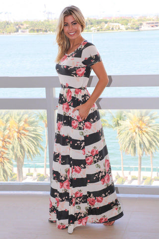 Ivory and Gray Floral Striped Maxi Dress