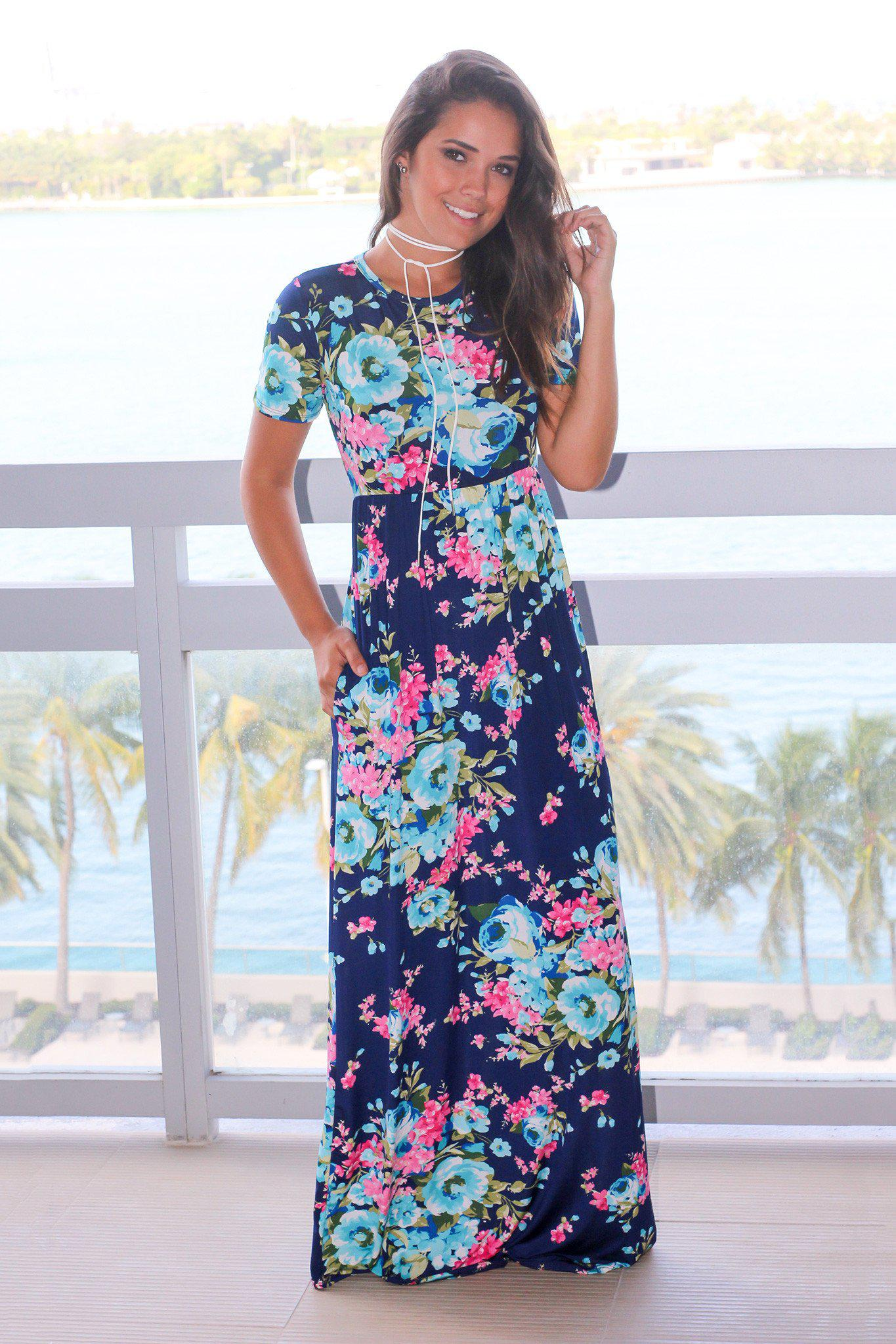 Navy Floral Maxi Dress with Short Sleeves | Maxi Dresses – Saved ...