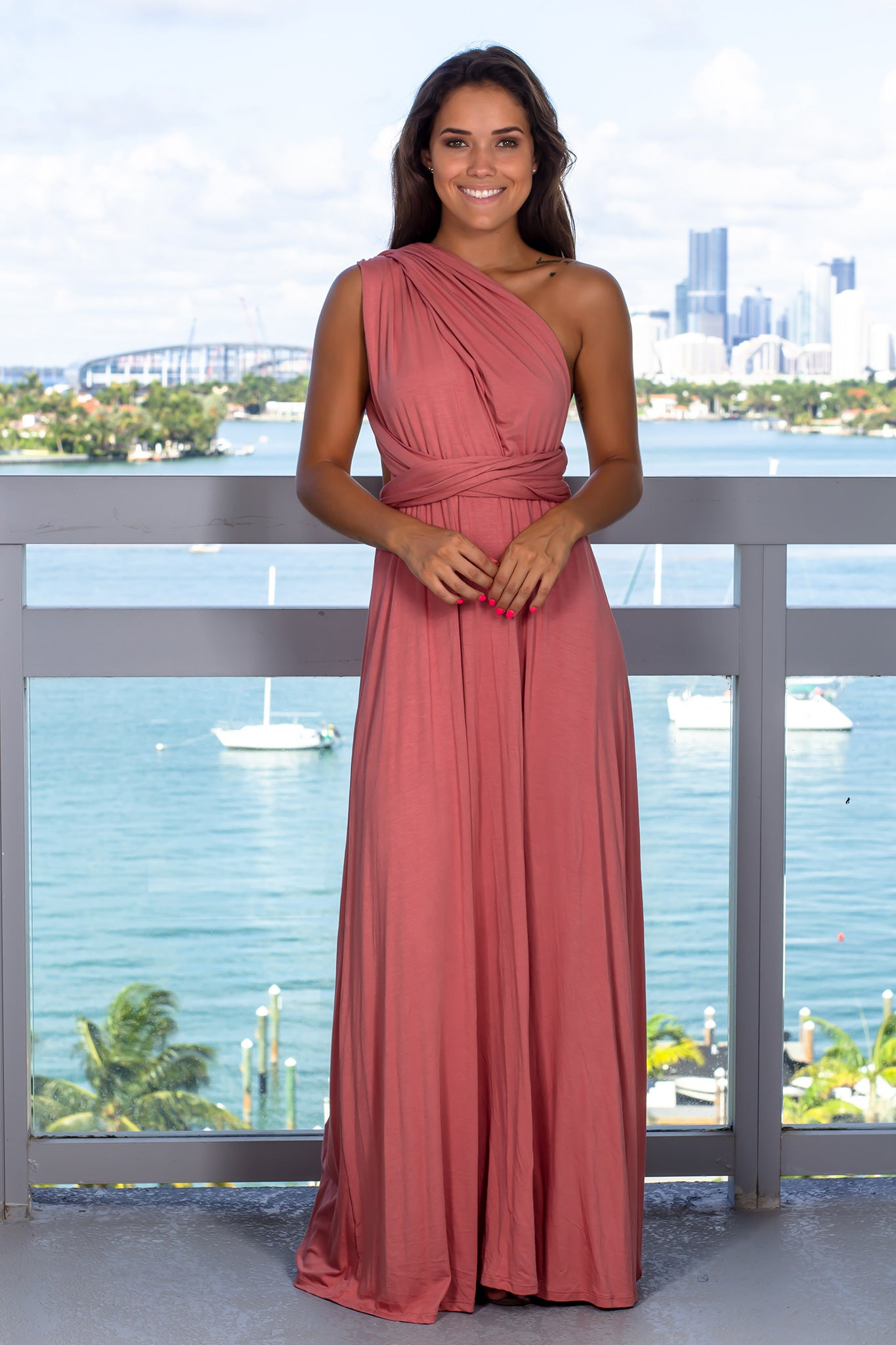 Peach V-Neck Tie Back Maxi Dress