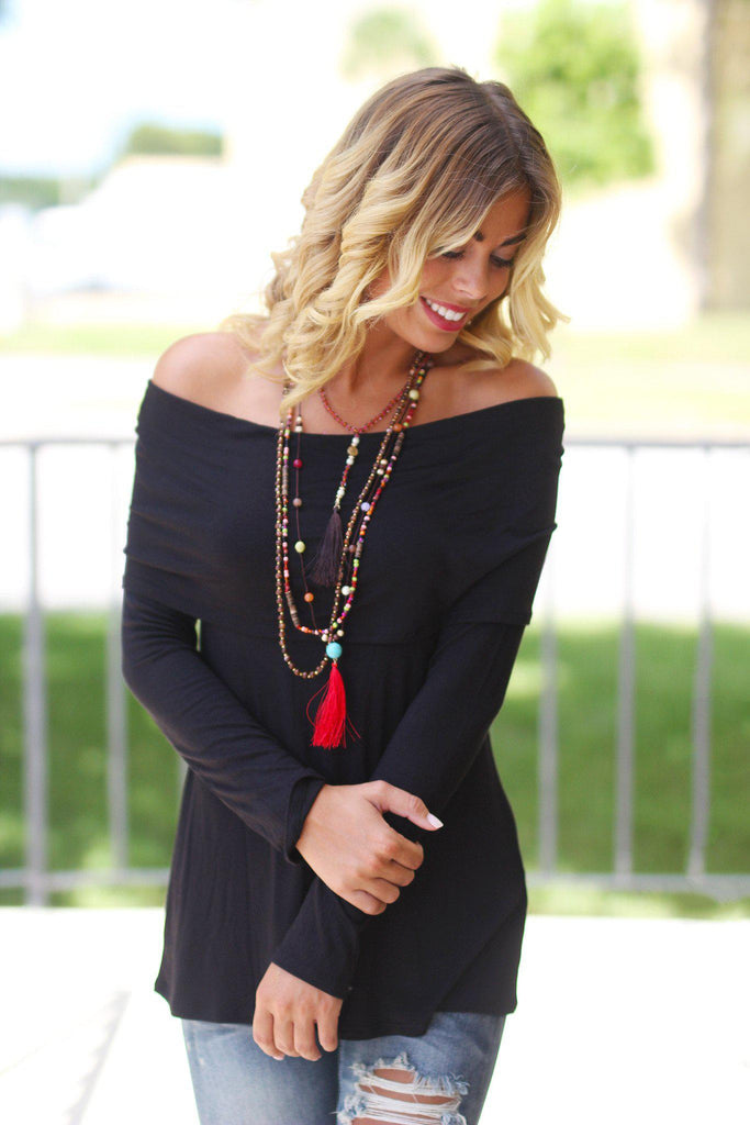 Black Top with Fold Over Off Shoulder