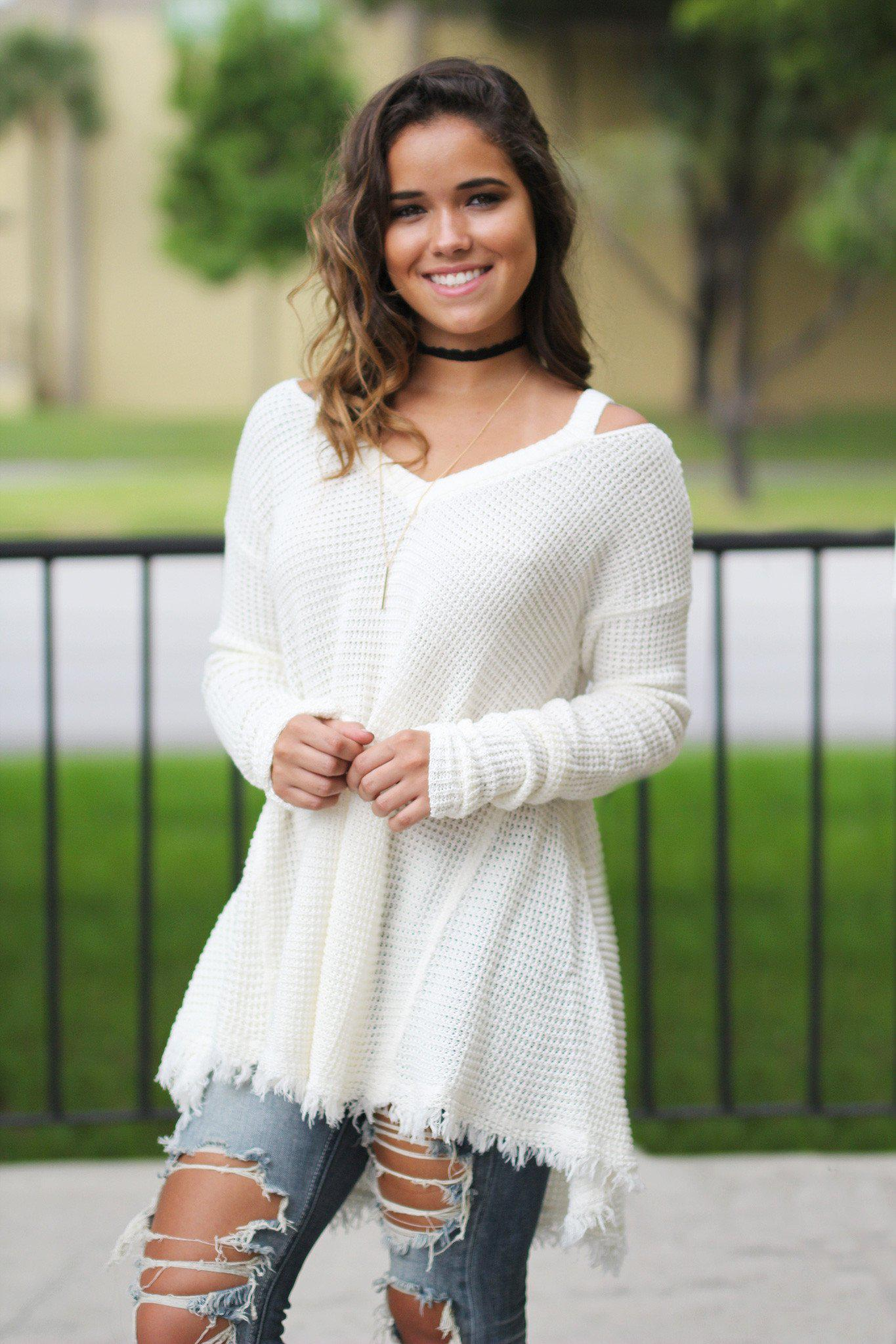 cream tunic sweater
