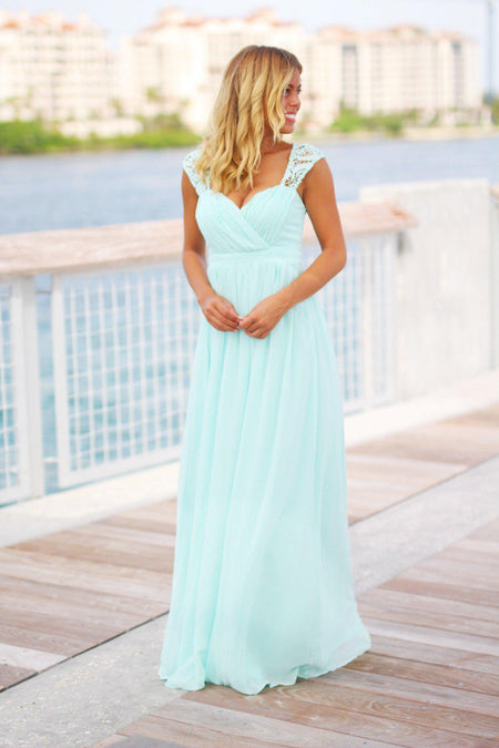 Mint Bridesmaid Maxi Dress