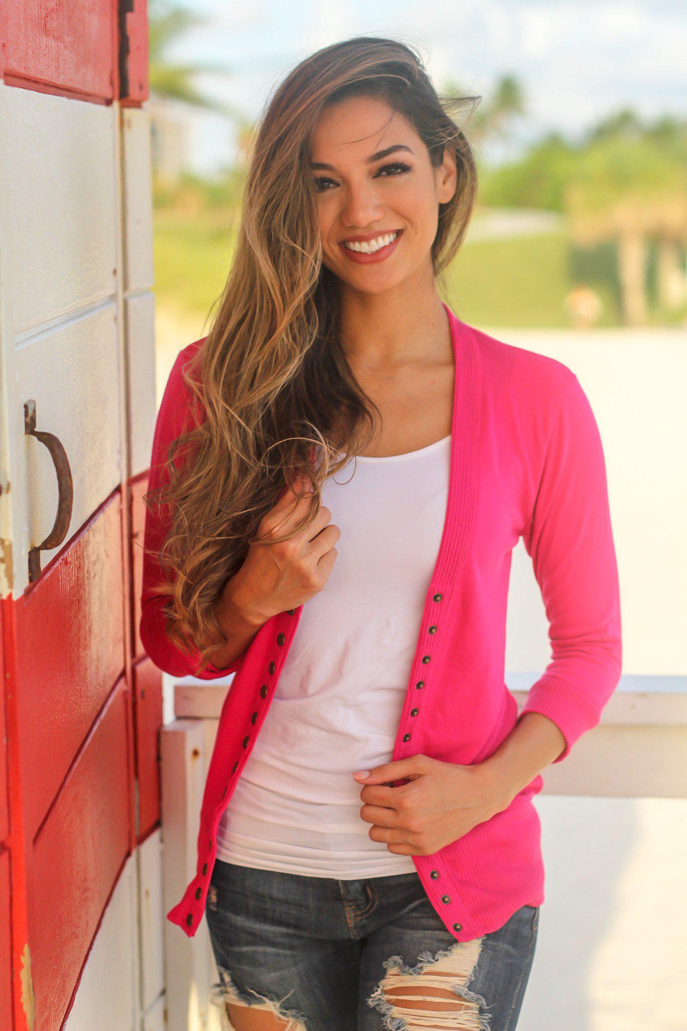 Magenta Cardigan with 3/4 Sleeves