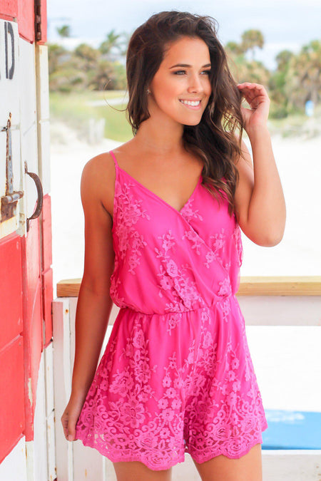 Magenta Embroidered Romper