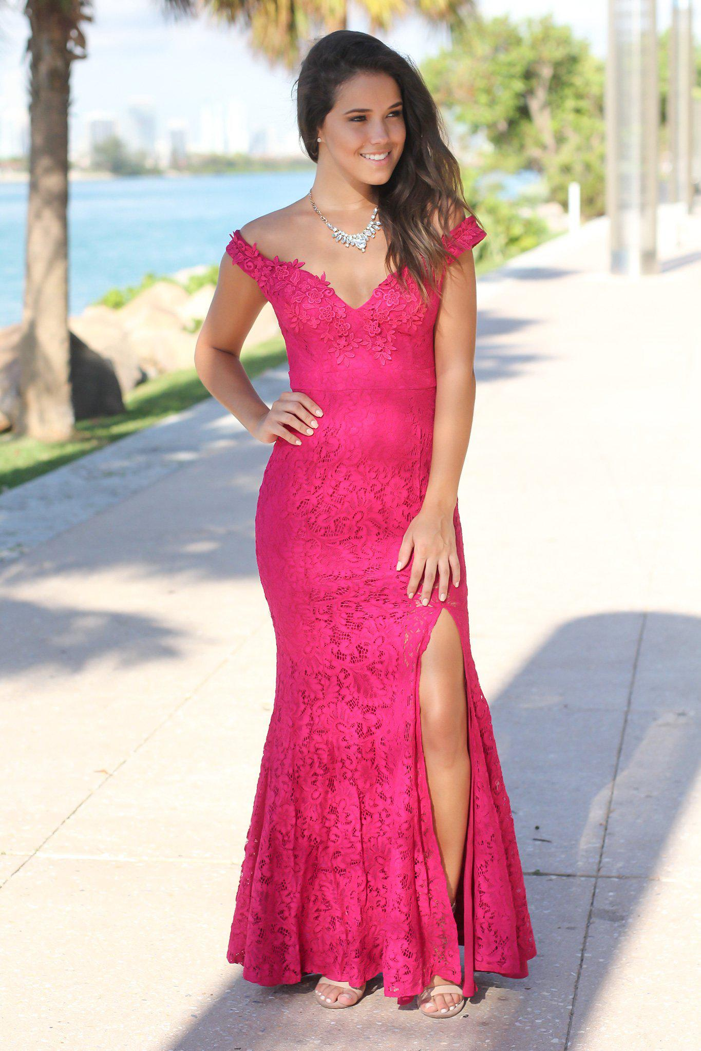 Magenta Lace Off Shoulder Maxi Dress