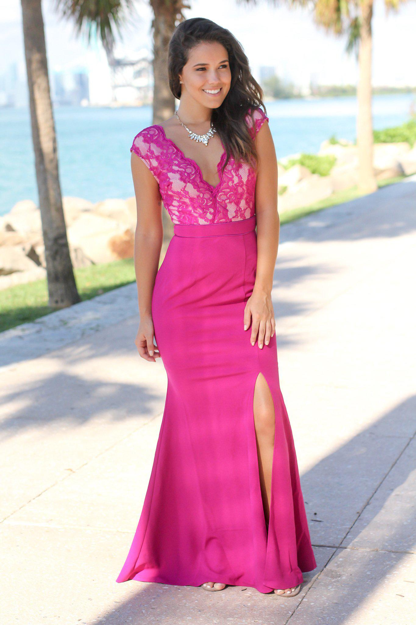 Magenta Lace Top Maxi Dress with Side Slit | Formal Dresses – Saved ...