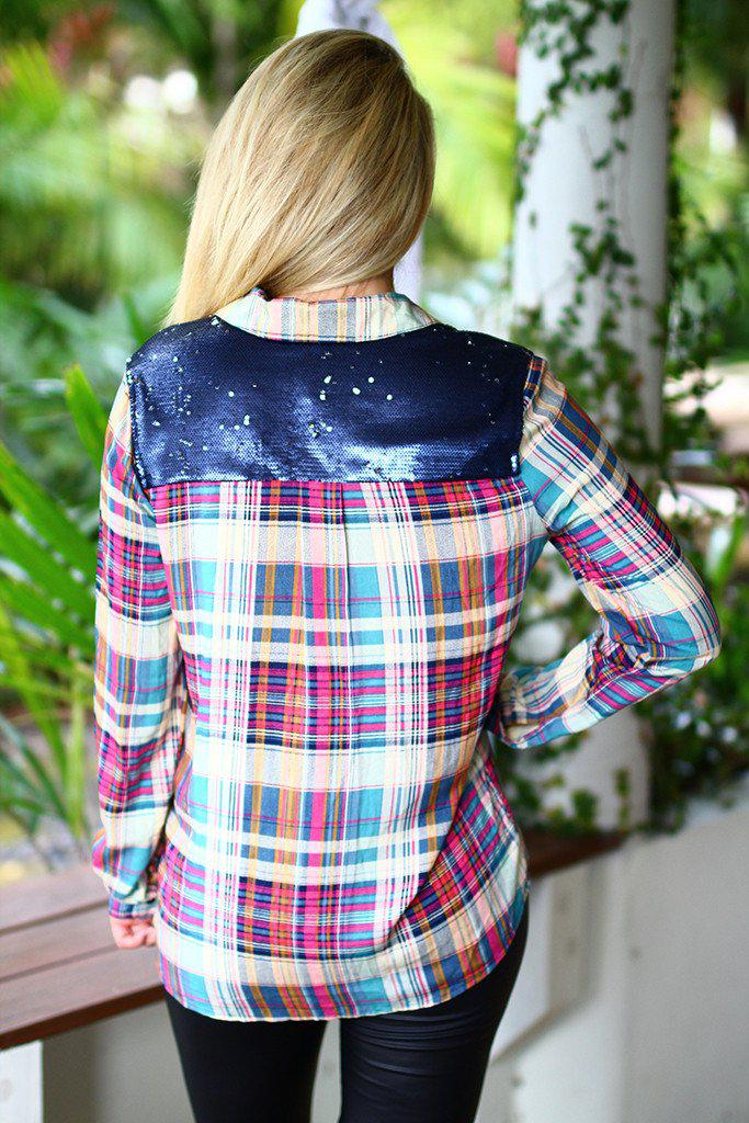 Magenta Plaid Top With Sequin Back