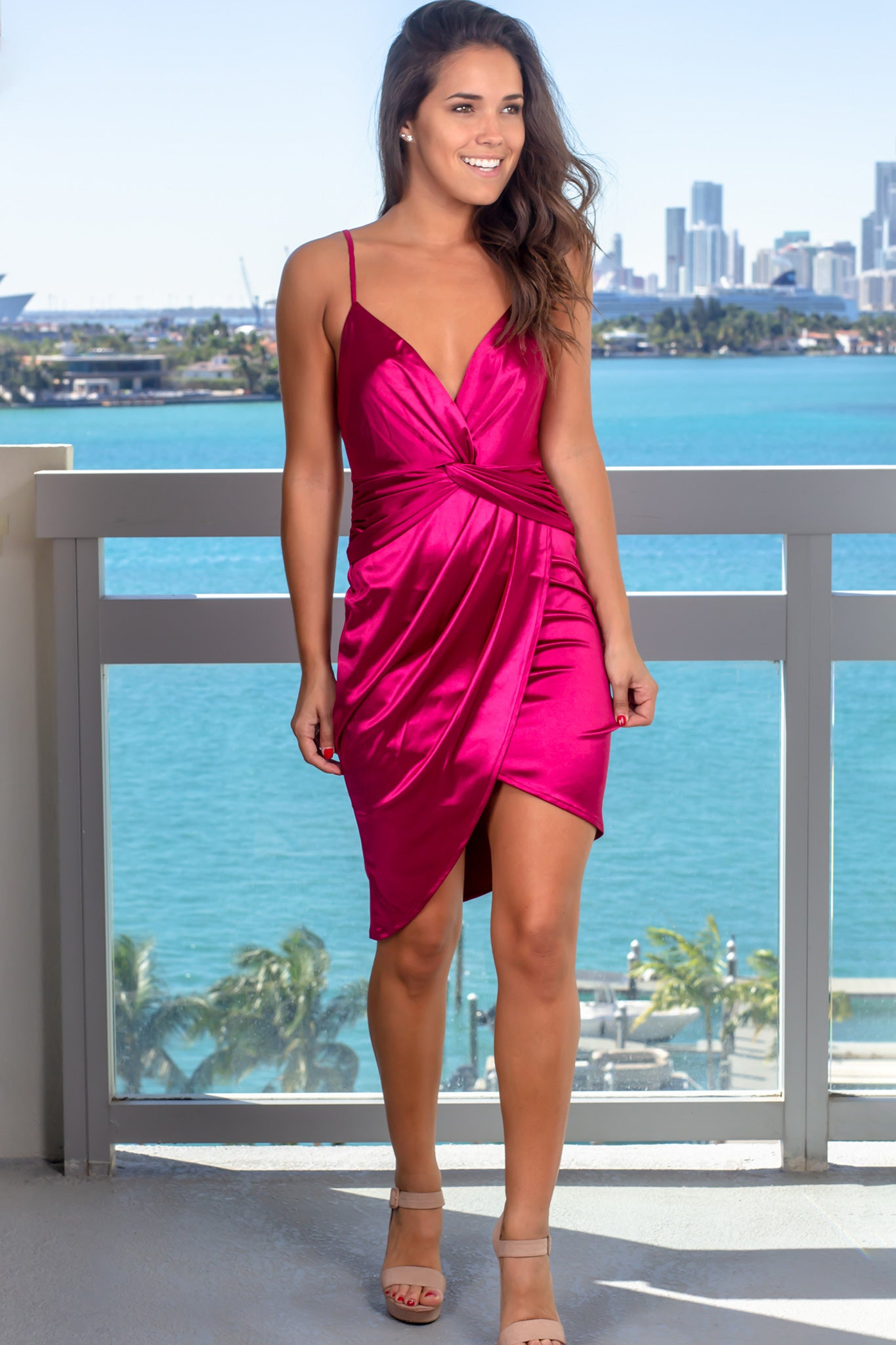 Magenta Satin Short Dress
