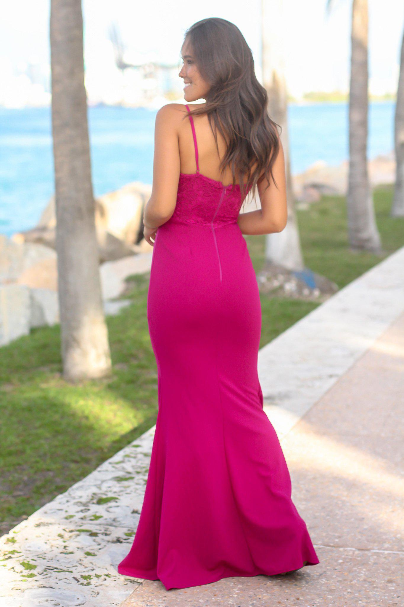 Magenta Sleeveless Crochet Top Maxi Dress with Side Slit