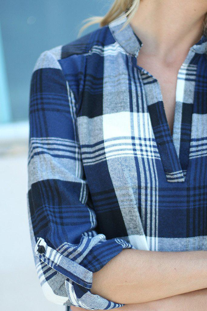Navy Plaid Top With Mandarin Collar