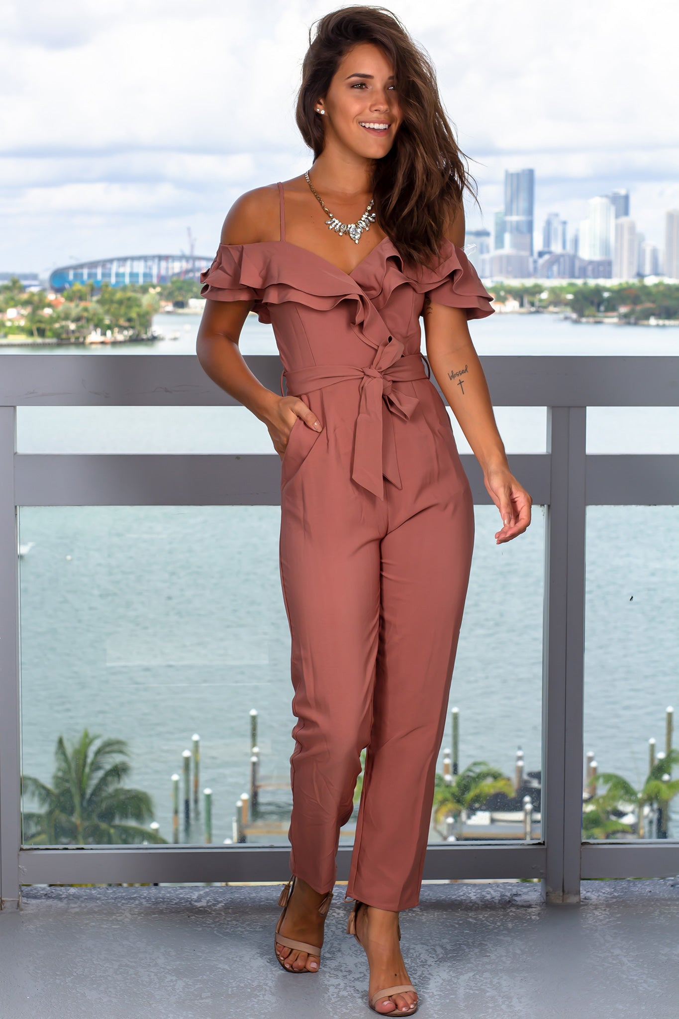 Maroon Jumpsuit with Ruffled Top