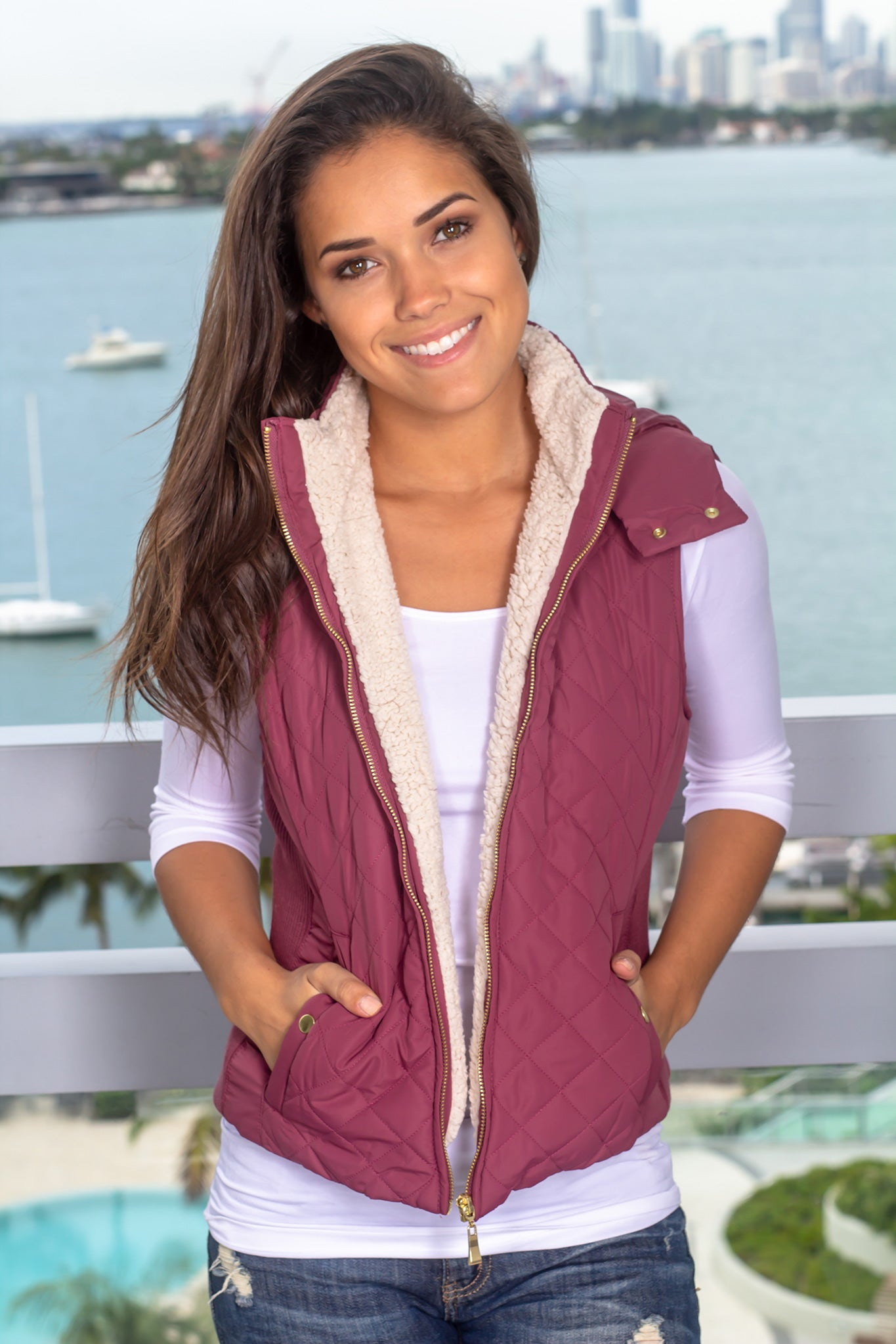 Maroon Quilted Vest with Fur Collar