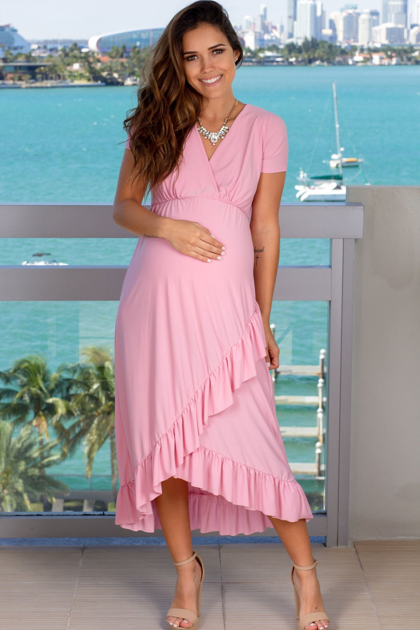 Pink Maternity Midi Dress with Ruffle Details