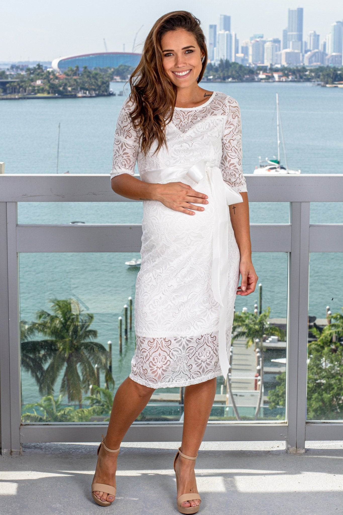 White Lace Short Dress with Tie Waist