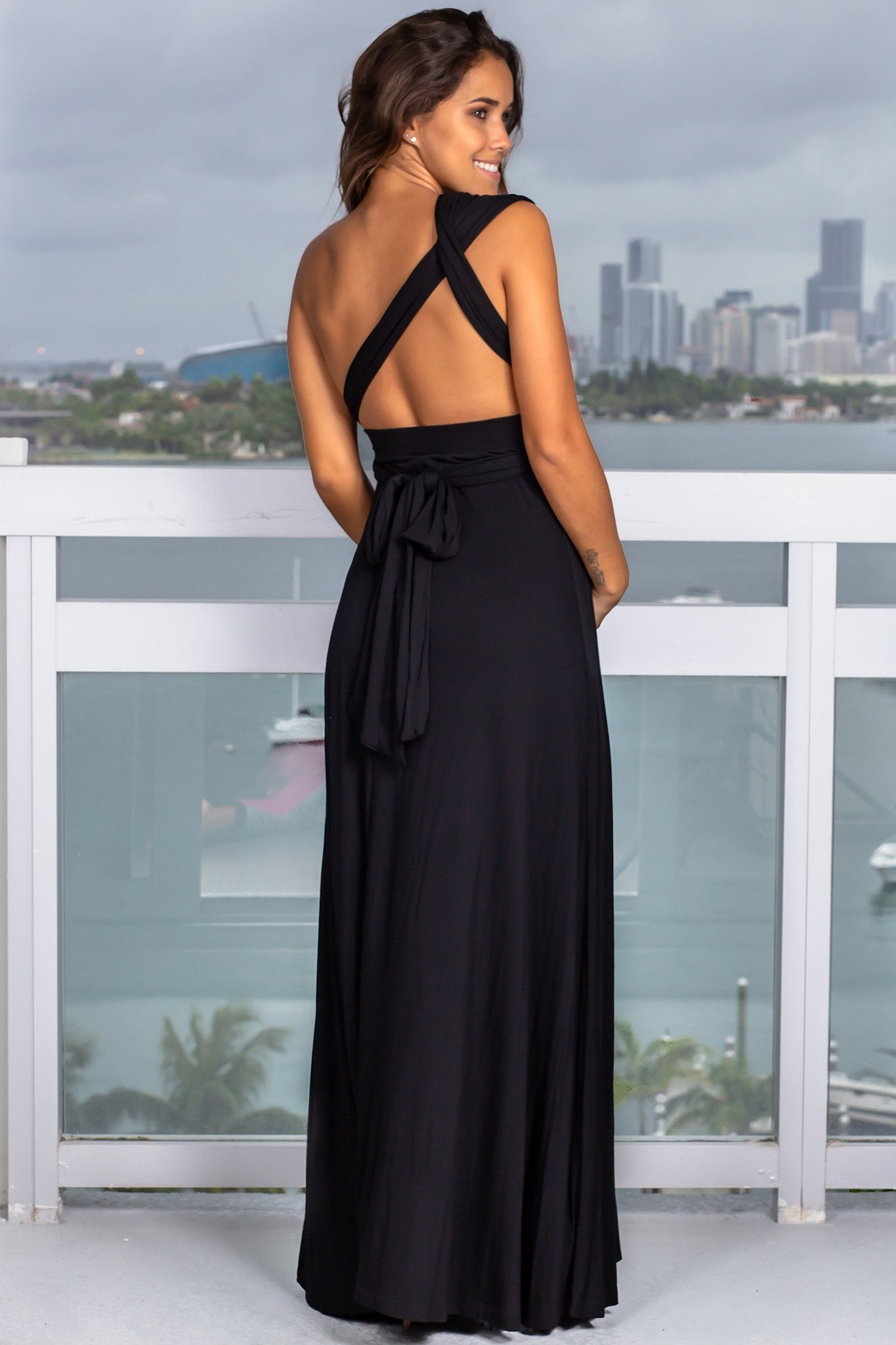 Black Tie Maxi Dress With Open Back Saved By The Dress Saved By The Dress