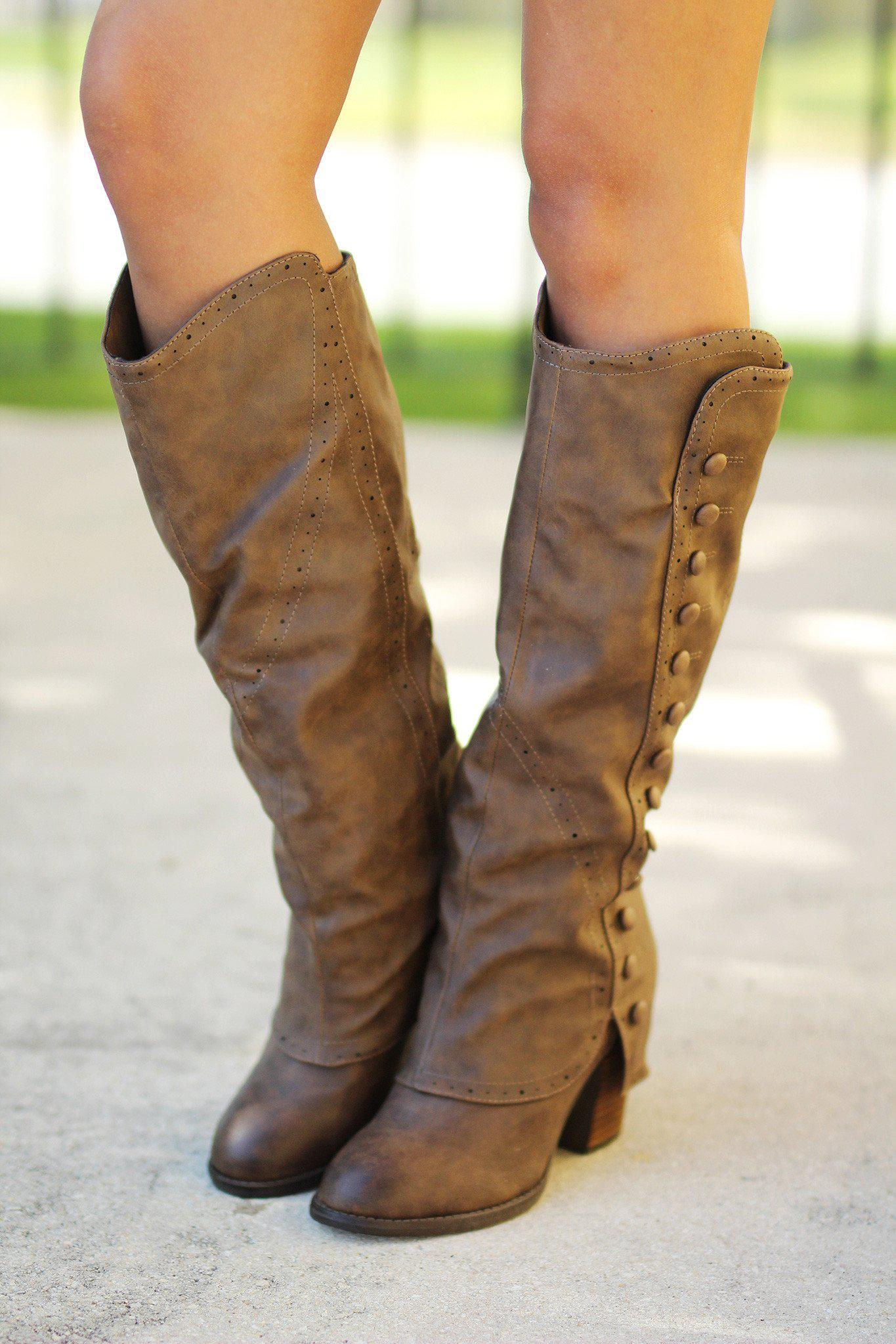 taupe button detail tall boots
