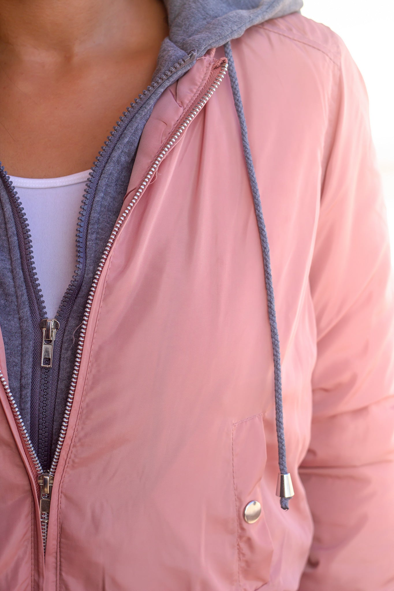 Mauve Bomber Jacket with Gray Hood