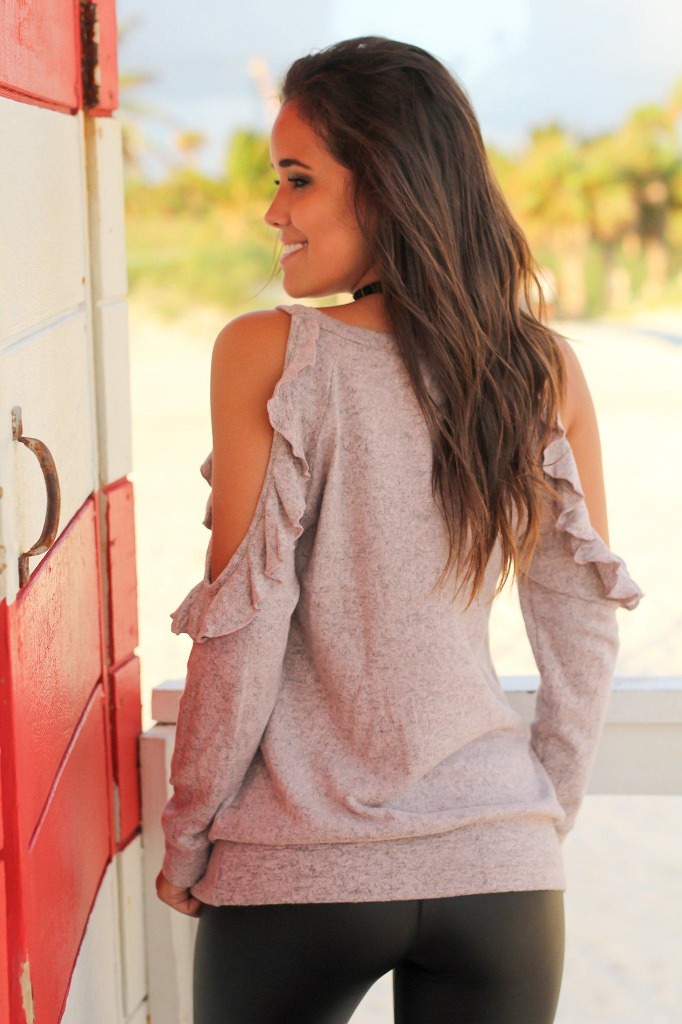 Mauve Cold Shoulder Top with Ruffle Detail