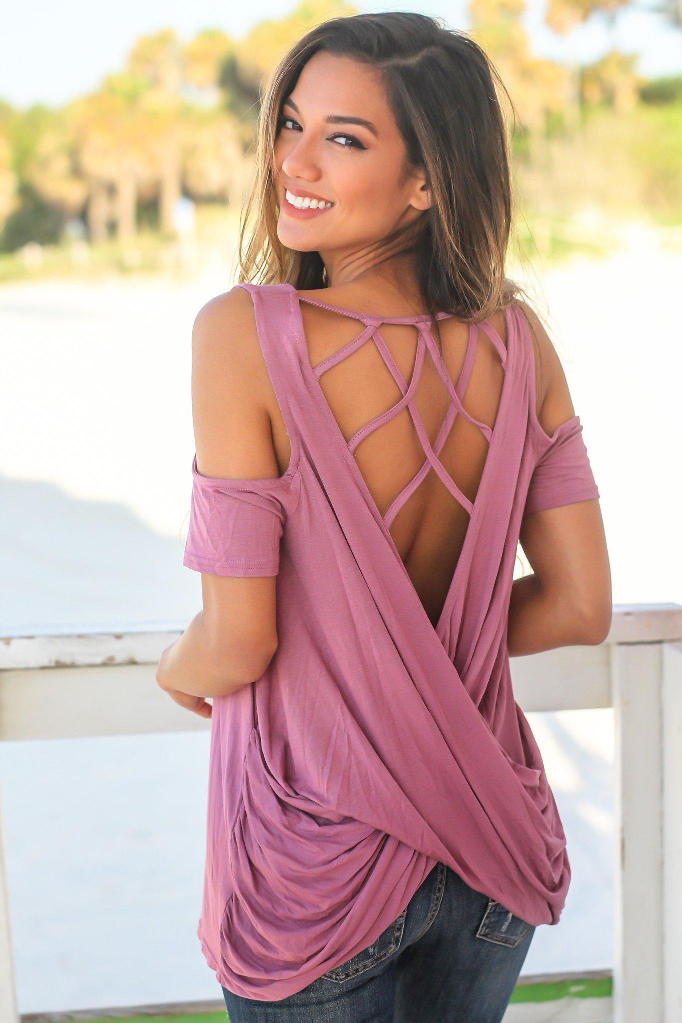 Mauve Cold Shoulder Top with Strappy Back