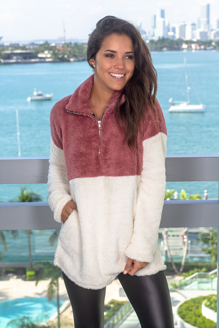 Mauve Color Block Fuzzy Pullover