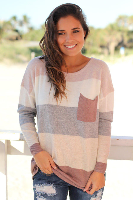 Mauve Color Block Knit Top with Pocket