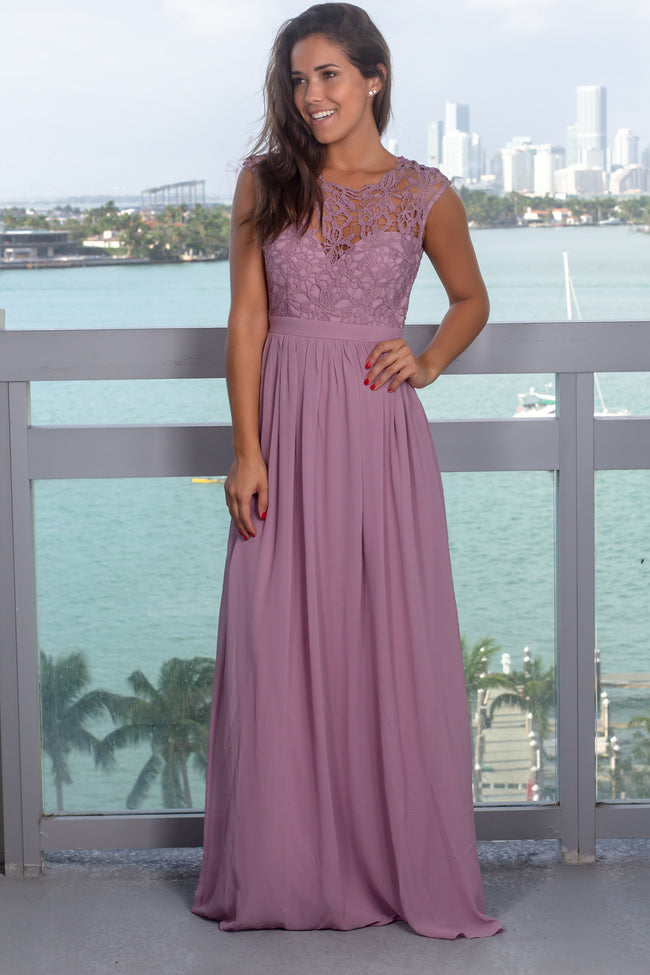 6a928d12d21 Plum V-Neck Tulle Maxi Dress with Criss Cross Back