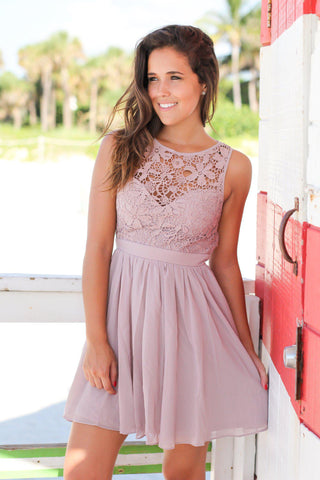 Tan Crochet Short Dress with Open Back