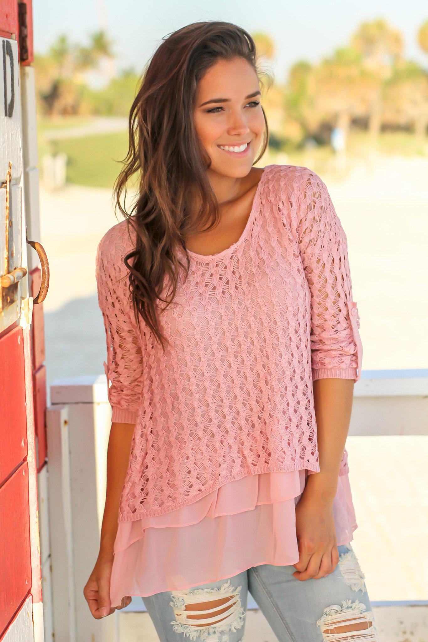 Mauve Crochet Sweater with Ruffled Hem