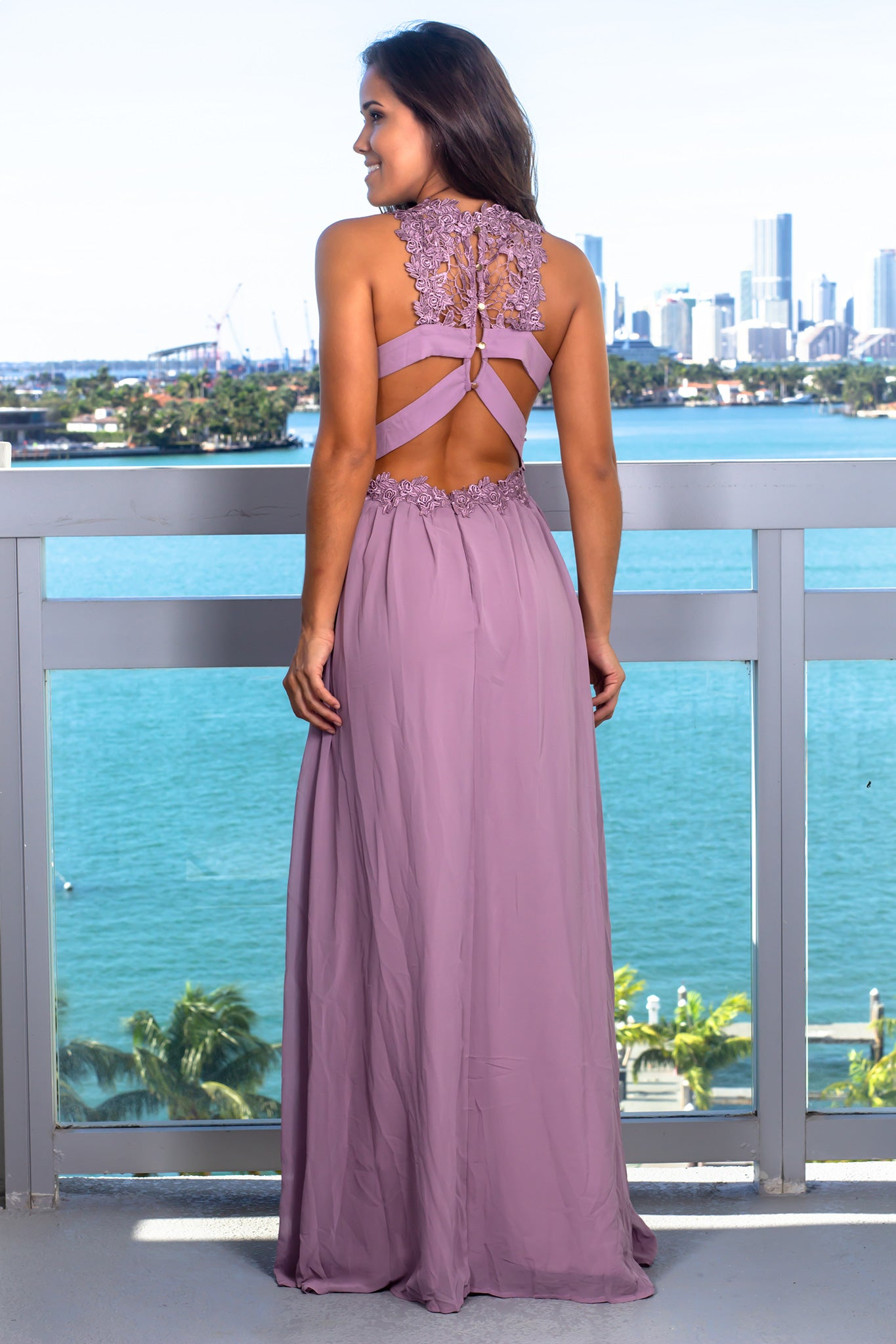 Mauve Embroidered Top Maxi Dress