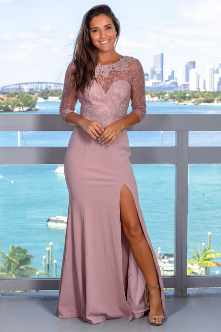 Mauve Embroidered Top Maxi Dress with 3/4 Sleeves