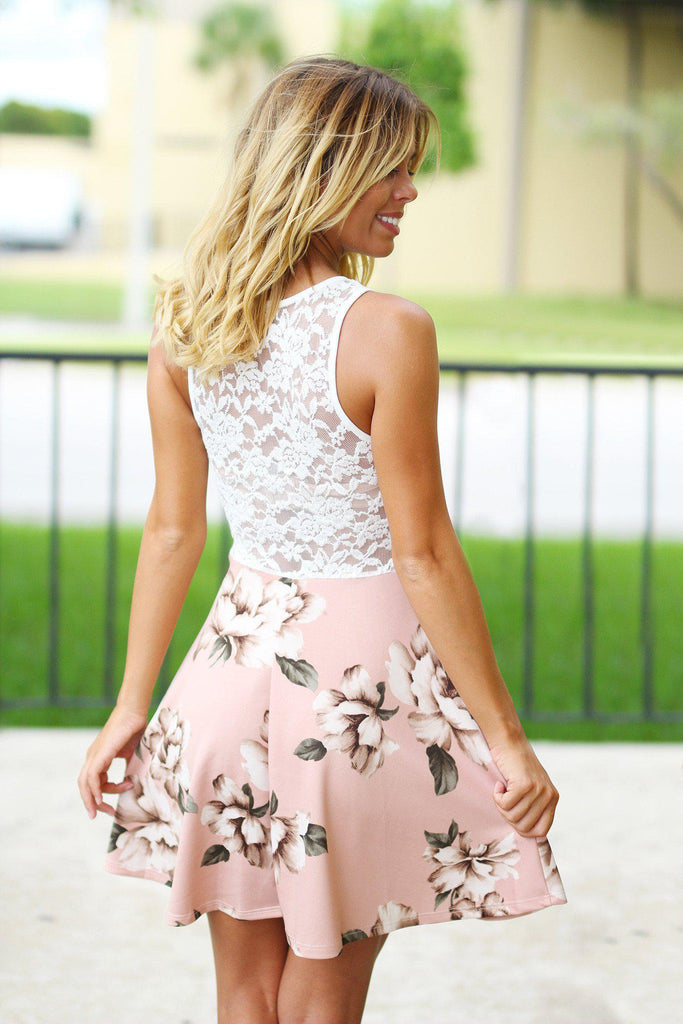 Ivory Floral Short Dress with Lace Top