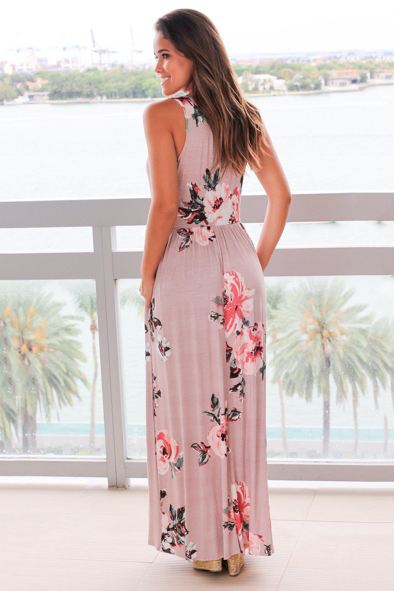 Mauve Floral Sleeveless Maxi Dress