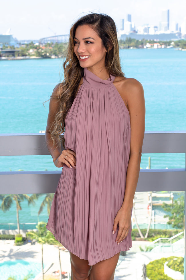 Mauve High Neck Pleated Dress