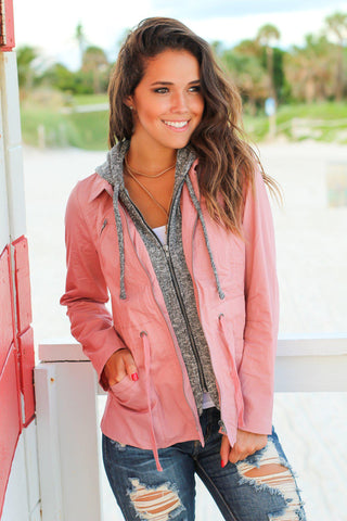 Mauve Jacket with Gray Hood