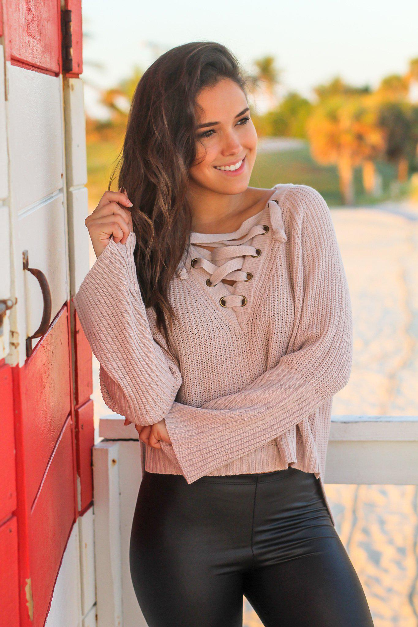 Mauve Knit Lace Up Sweater