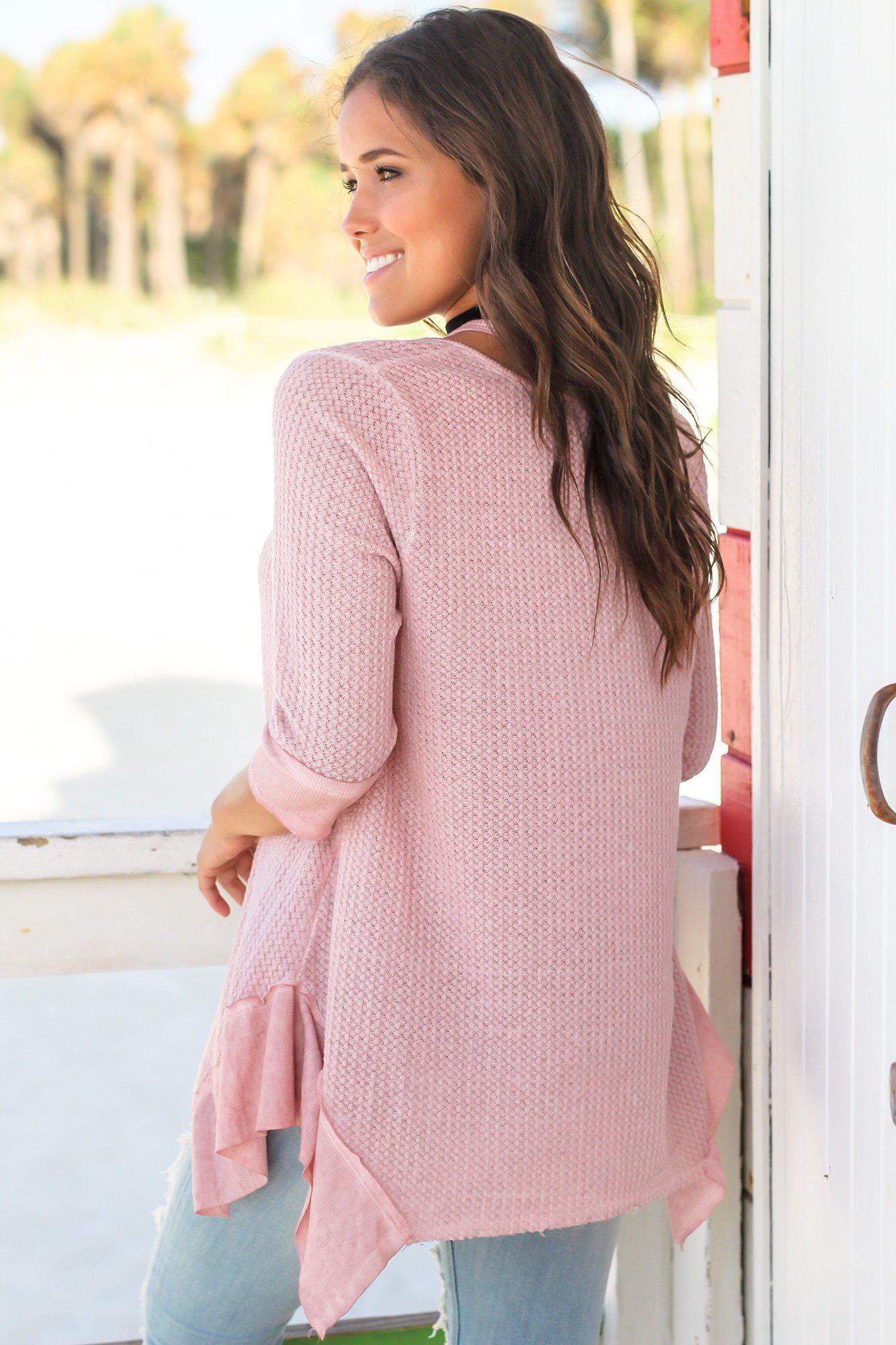 Mauve Knit Tunic with Cut Outs