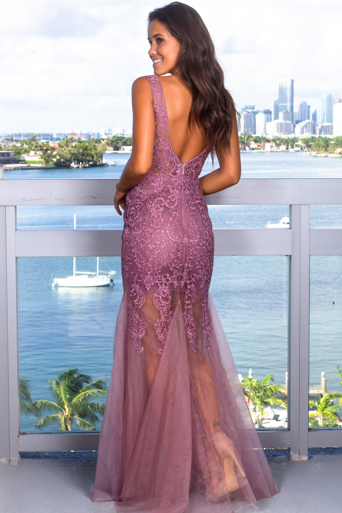 Mauve Lace Maxi Dress with Tulle Detail