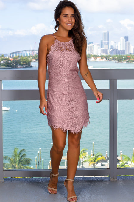Mauve Lace Short Dress with Back Buttons