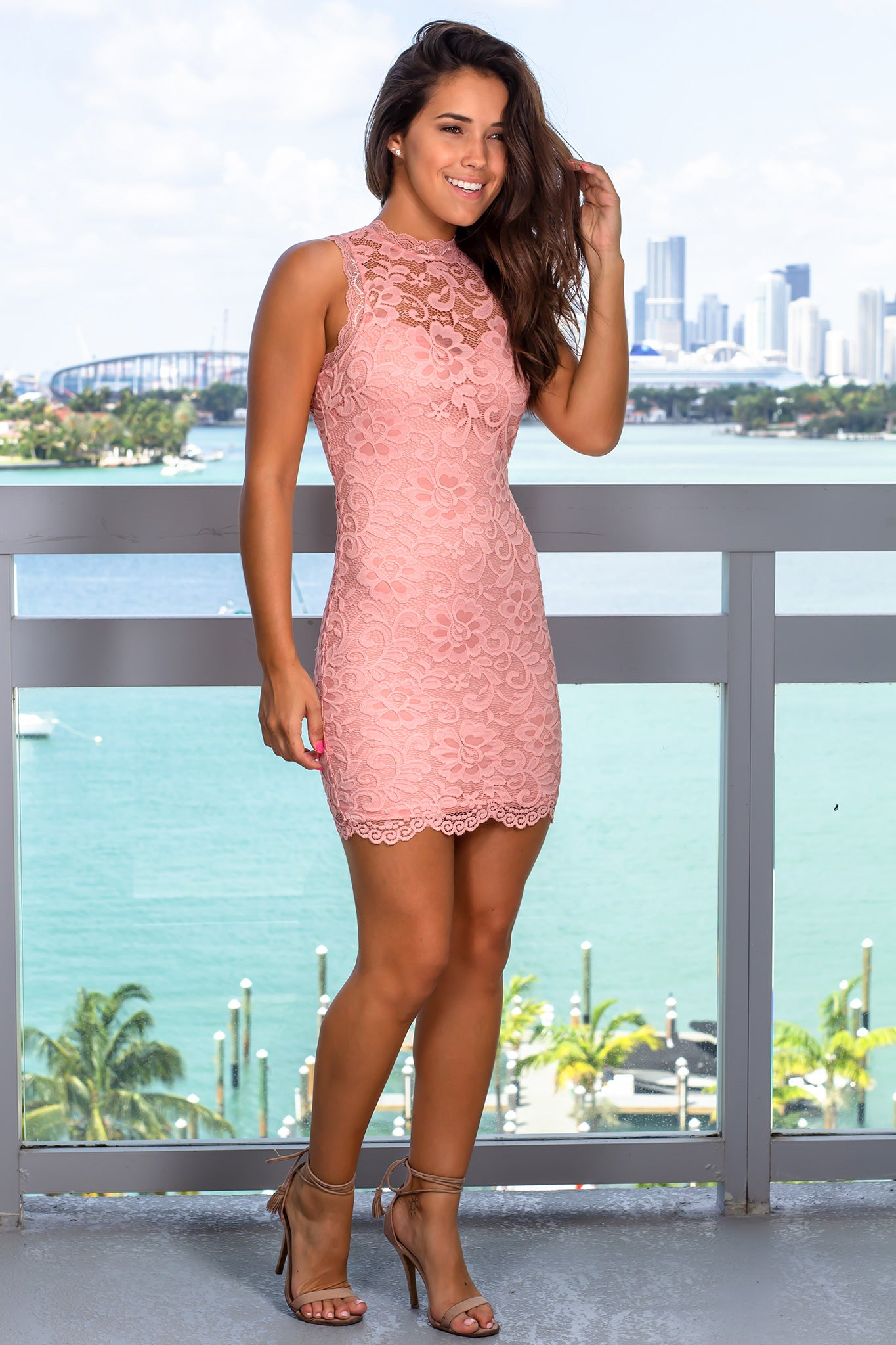 Mauve Lace Short Dress with Open Back